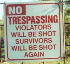 funny name board trespassing